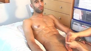 str8 Arab worker gets wanked his big cock by a client !