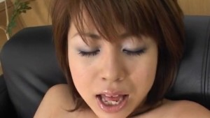 Rua Mochizuki busty has orgasms from vibrators and gives handjob