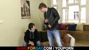 Gay boy seduces and fucks him from behind