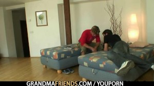 Two lads bang very old cleaning woman