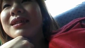 Marin rubs her hairy pussy and puts vibrator on it in the car