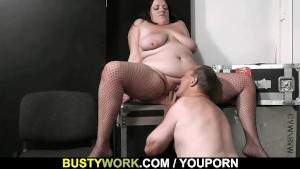Busty plumper rides stranger s cock