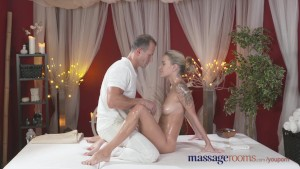 Massage Rooms Horny tattoo girl has her tight hole fingered and fucked