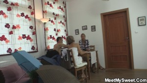 Old couple and teen oral 3some