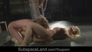 Blonde hot teens merciless treated in bdsm with watchers