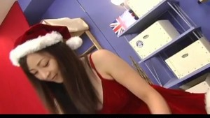 Reo Matsuzaka Santa girl strokes and sucks hard penis like a pro