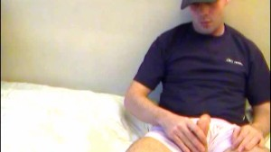 Full video: The str8 delivery guy gets wanked his big cock by us!