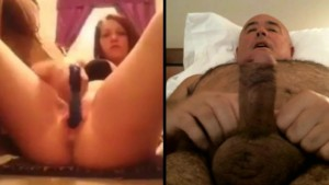 Girl with toy,man wanking