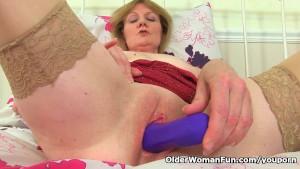 British granny Clare fucks a dildo
