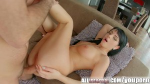 Allinternal dark haired hottie takes an anal creampie