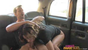 FemaleFakeTaxi Fat cock stretches pussy in UK taxi