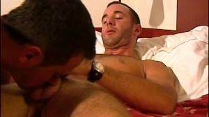 A innocent room service guy serviced his big cock by a guy in spite of him!