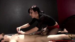 CBT Mistress and slave both masturbate together