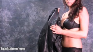 Busty babes naughty fetish for stripping and dressing up in tight leather