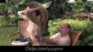 Skinny nympo Monique fucks old man in luxuriant garden