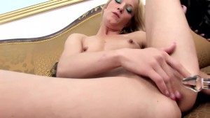 Skinny blonde masturbating in knee high boots