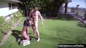 Cheating Latina Gabby Quinteros Caught Fucking Lawn Guy!