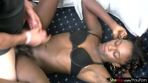 Ebony shemale needs two hands