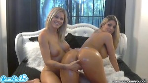 hottest blonde lesbians with big tits and big asses oil up and massage each other