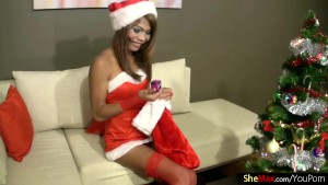 Gorgeous ladyboy in red thongs and stockings masturbates