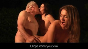 Old fat man lucky 69 outdoor fuck with two young busty beauties
