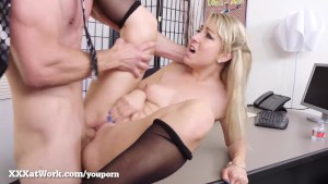 Hot Blond Secretary Gets Fucked By Her Boss!
