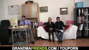 Old lady job interview leads to threesome