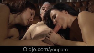Young babes fucking surprise for old men in the mansion of hard cumshots