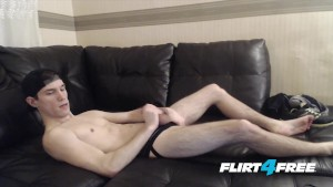 Skinny Guy Does a Striptease Before Jerking Off His Big Dick