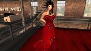une jolie brune virtuelle en robe rouge