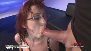 Nerdy Fiona with big natural tits gets creamed - Extreme Bukkake