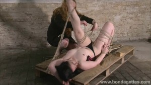 American fetish model Caroline Pierce tied up and hogtied bondage of kinky rope slut