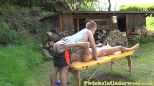 Handsome twunk jerking his hard cock outdoors