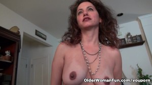 Milf Serena Cruz will let you enjoy her hard nipples and creamy cunt