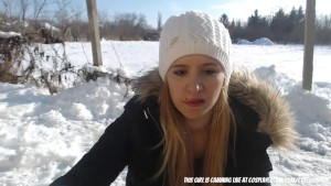 Schoolgirl stripping outside in the snow
