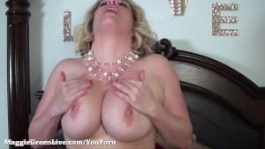 Busty Maggie Green Cums from Big Glass Dildo!