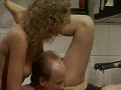 Two young hotties take care of poor older guy
