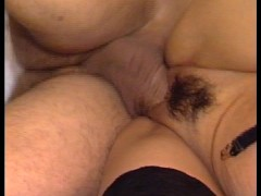 Lady in purple blowing cock