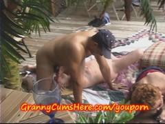Bi Sexual Grannies EAT CUM outdoors