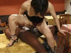 Waiter and waitress set the table for sex(clip)
