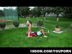 Professional lawn mowing ends up with femdom sex