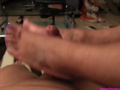 My stepmom oily footjob, handjob, cumshot video in HD.