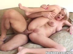 dirty blonde gets really hard anal by big dick and takes cum in her asshole