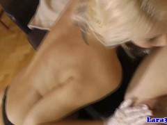 British lesbians in stockings love eating box