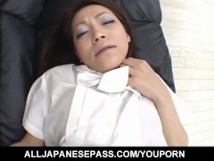 Japanese AV Model gets vibrators on clit and boner on hairy labia
