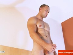 A russian straight male gets wanked his huge cock by me in spite of him !