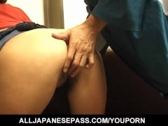 Fumika Uesugi has hairy crack rubbed a lot