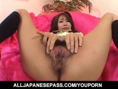 Japanese AV Model has hairy pussy licked and sucks hard penis
