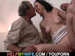Brunette wife swap for old man