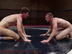 Huge Cocks And Slippery Holds In Oil Wrestling Match